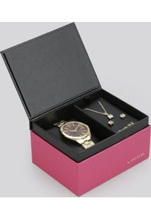Kit De Relógio Analógico Lince Feminino + Colar + Brinco - Lrg4329L K134M1Kx Dourado