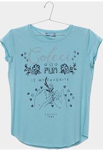 Camiseta Infantil Colcci Estampada Com Brilho Feminina - Feminino-Verde
