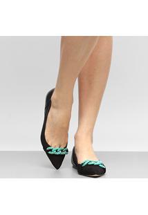 Sapatilha Couro Shoestock Corrente Resina Feminina - Feminino
