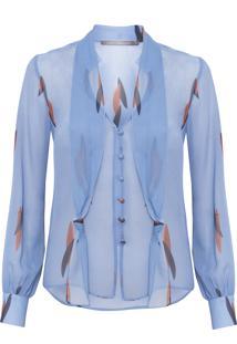 Camisa Feminina Manga Longa Flamingos - Azul