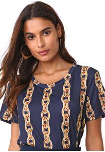 Camiseta Lanã§A Perfume Estampada Azul-Marinho/Amarelo - Azul Marinho - Feminino - Poliã©Ster - Dafiti