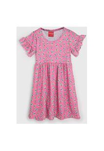 Vestido Manga Curta Tricae Infantil Borboletas Rosa