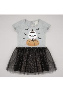 Vestido Infantil Halloween Gatinho Com Tule Sem Manga Cinza Mescla