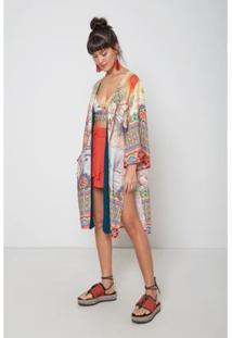 Kimono Est Jardim Oriental Color - Oh, Boy! - Feminino-Off White
