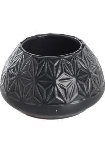 Vaso Floral Geométrico- Cinza Escuro- 9,5Xø16Cm-Mdecor