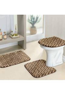 Jogo Banheiro Dourados Enxovais Safari 03 Peças Girafa