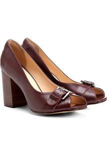 050d34ebe3be0 Peep Toe Couro Shoestock Salto Grosso Vegetal Fivela