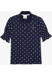 Camisa Polo Lacoste Live Slim Fit Estampada Feminina - Feminino-Marinho+Branco