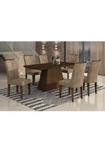 Conjunto De Mesa Lunara Iii 180 Cm Com 6 Cadeiras Animalle Castor E Chocolate