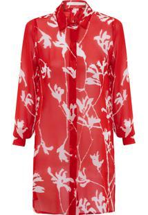 Camisa Feminina Longa Estampada - Vermelho