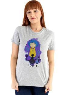 Baby Look Ouroboros Manga Curta Coraline - Feminino-Cinza