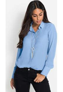 Camisa Com Leve Transparência Azul Claro