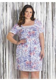 Vestido Floral Com Renda Plus Size Marguerite