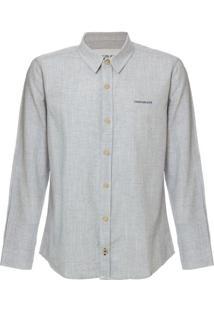 Camisa Ml Ckj Listrada Linen Silk Logo - Azul Claro - 6