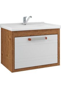 Gabinete De Banheiro Jade 1 Pt 1 Gv Amêndoa E Branco 59 Cm