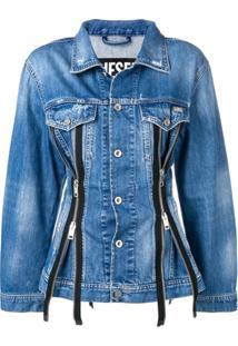 Diesel Jaqueta Jeans De Alfaiataria Com Zíper - Azul