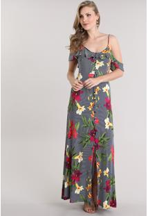 Vestido longo estampado viscose