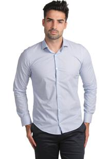 Camisa Micro Estampada Thones Super Slim Azul Claro