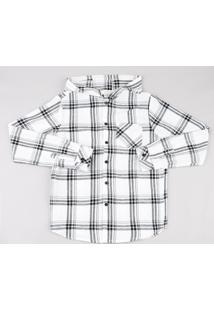 Camisa Juvenil Em Flanela Estampada Xadrez Com Capuz Manga Longa Branca