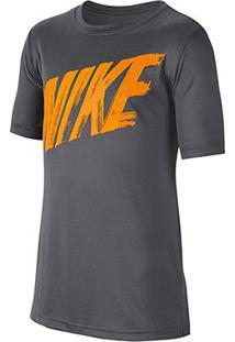 Camiseta Infantil Nike B Dry Top Masculina - Masculino-Cinza+Laranja