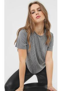 Camiseta Triton Aplicaã§Ãµes Cinza - Cinza - Feminino - Viscose - Dafiti