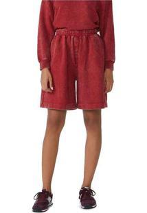 Shorts Moletom Feminino Reto Estonado Vermelho