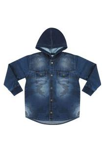 Camisa Look Jeans Camuflada Jeans Azul