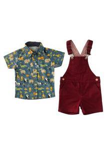 Jardineira Macacão Infantil + Camisa Curta Mabu Denim