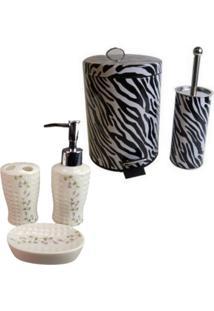 Kit Para Banheiro Com Lixeira Saboneteira Porta Escova - Deca R04 - Tricae