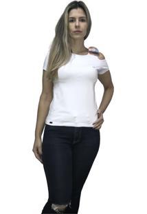 Camiseta Hifen Com Abertura No Ombro Branco - Kanui