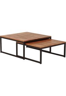 Mesa De Centro Quadrada Catarina Wood Marrom E Preta