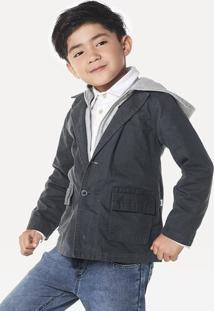 Jaqueta Blazer Infantil Menino Em Sarja De Algodão Com Capuz Puc