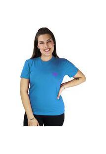 Camiseta Manga Curta Feminino Borboleta Cor Do Verão Azul