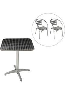 Conjunto Mesa Com 2 Cadeiras Em Alumínio Para Jardim Mor - Unissex