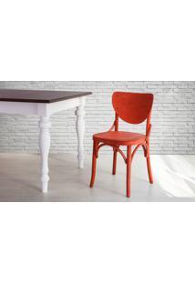 Cadeira De Madeira Estilo Bar Torneada Com Encosto E Assento Anatômico Vermelha Eléonore - 44X49,5X82,5 Cm