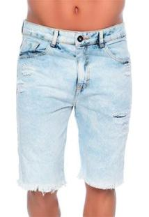 Bermuda Empório Alex Jeans Rattoppato - Masculino-Jeans