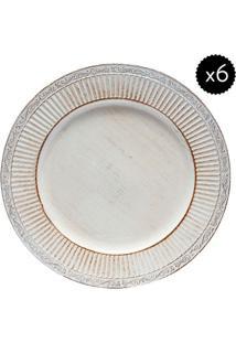 Jogo De Sousplat- Off White & Marrom- 6Pçsbon Gourmet