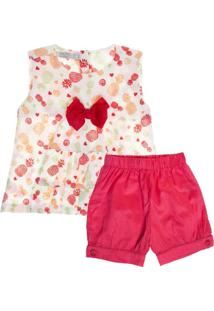 62285e377 Conjunto Infantil Klin Feminina - Feminino-Vermelho+Branco