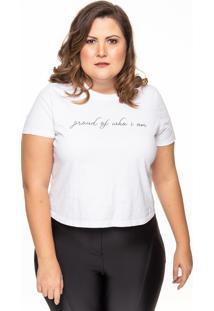 Camiseta Linny Plus Size Manga Curta Proud Branca - Tricae