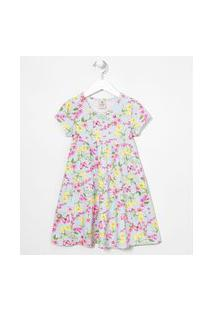 Vestido Infantil Floral Recortes Maria - Tam 5 A 14 Anos | Fuzarka (5 A 14 Anos) | Azul | 11-12