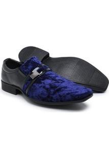Sapato Social Couro Schiareli Verniz Masculino - Masculino-Azul+Preto