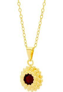 Gargantilha Horus Import Ponto Luz Flor Vermelho Rubi Banhada Ouro Amarelo 18 K - 1061120