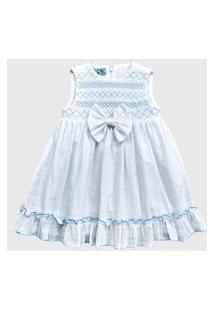 Vestido Doc Kids Grace Ady Branco Com Bordado Azul.