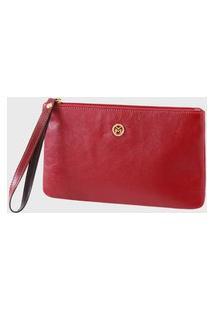 Bolsa Carteira Clutch Couro Mariart 263Mrt Vermelha