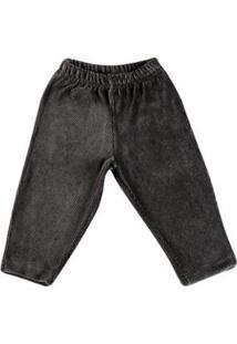 Calça Bebê Ano Zero Plush Cotelê Masculina - Masculino-Marrom