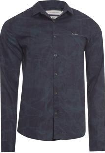 Camisa Masculina Estampa Espatulada - Preto