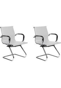 Conjunto Com 2 Cadeiras De Escritório Interlocutor Fixas Eames Best Branco