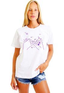 Camiseta Feminina Joss Galaxy Friend Roxo Branco