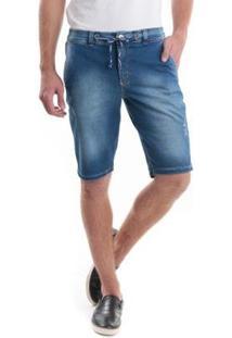 Bermuda Jeans Slim Com Cordão No Cós Masculina - Masculino-Azul