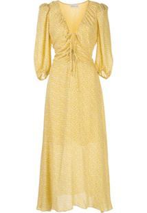 Nicholas Vestido Evasê Com Estampa - Amarelo